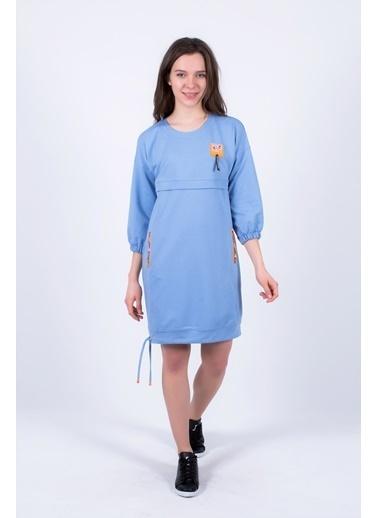 Clıche  Bağcık Detaylı Elbise Mavi